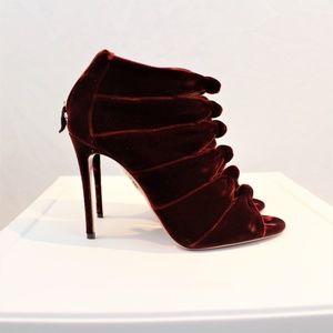 Aquazzura crimson velvet heels